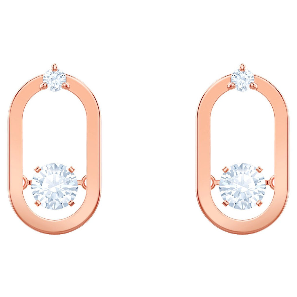 Swarovski North Pierced Earrings - White - Rose Gold Plating