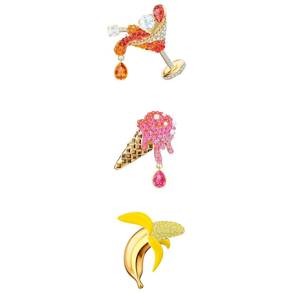 Swarovski No Regrets Brooch Set - Multi-colored - Gold Plating