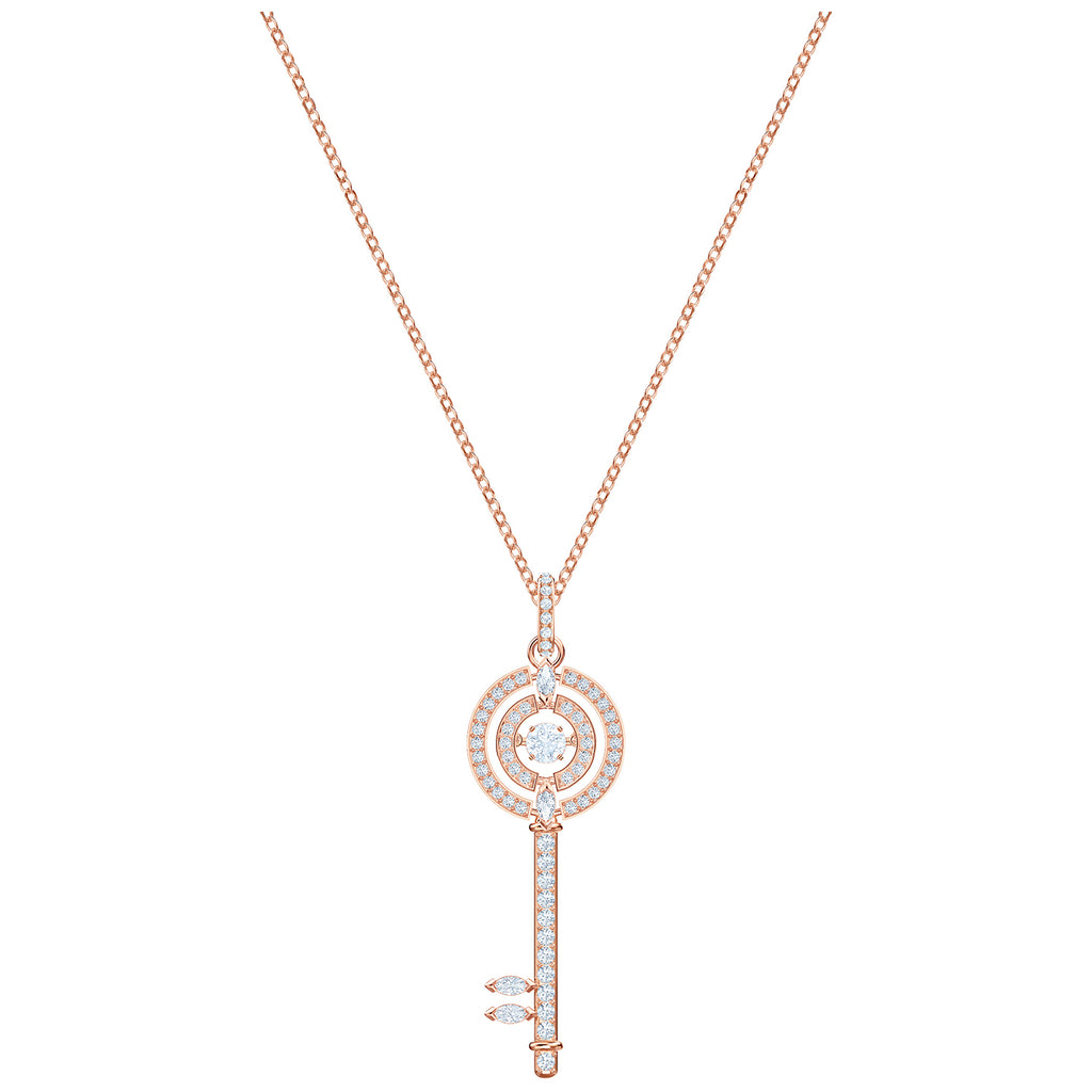 Swarovski Sparkling Dance Key Pendant - White - Rose Gold Plating