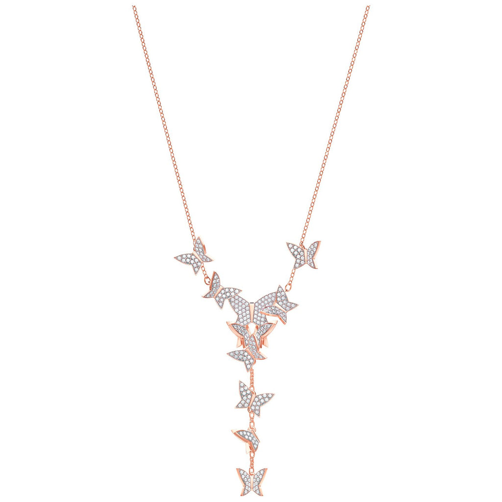 Swarovski Lilia Y Necklace - White - Rose Gold Plating