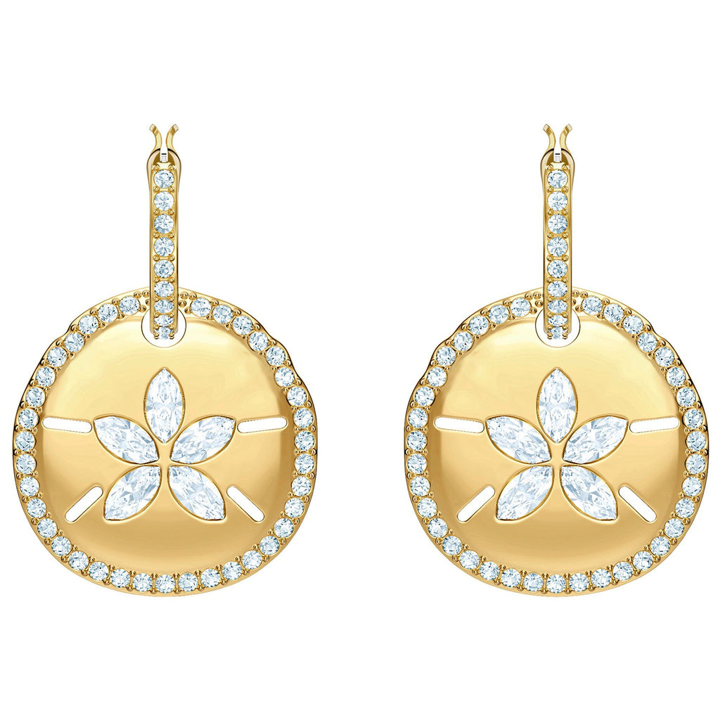 Swarovski Ocean Sand Coin Pierced Earrings - White - Gold Plating