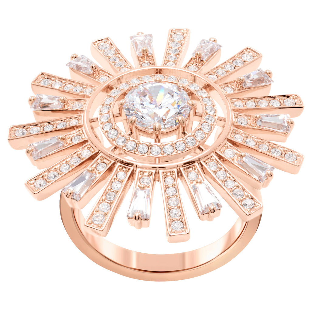 Swarovski Sunshine Cocktail Ring - White - Rose Gold Plating Size 52