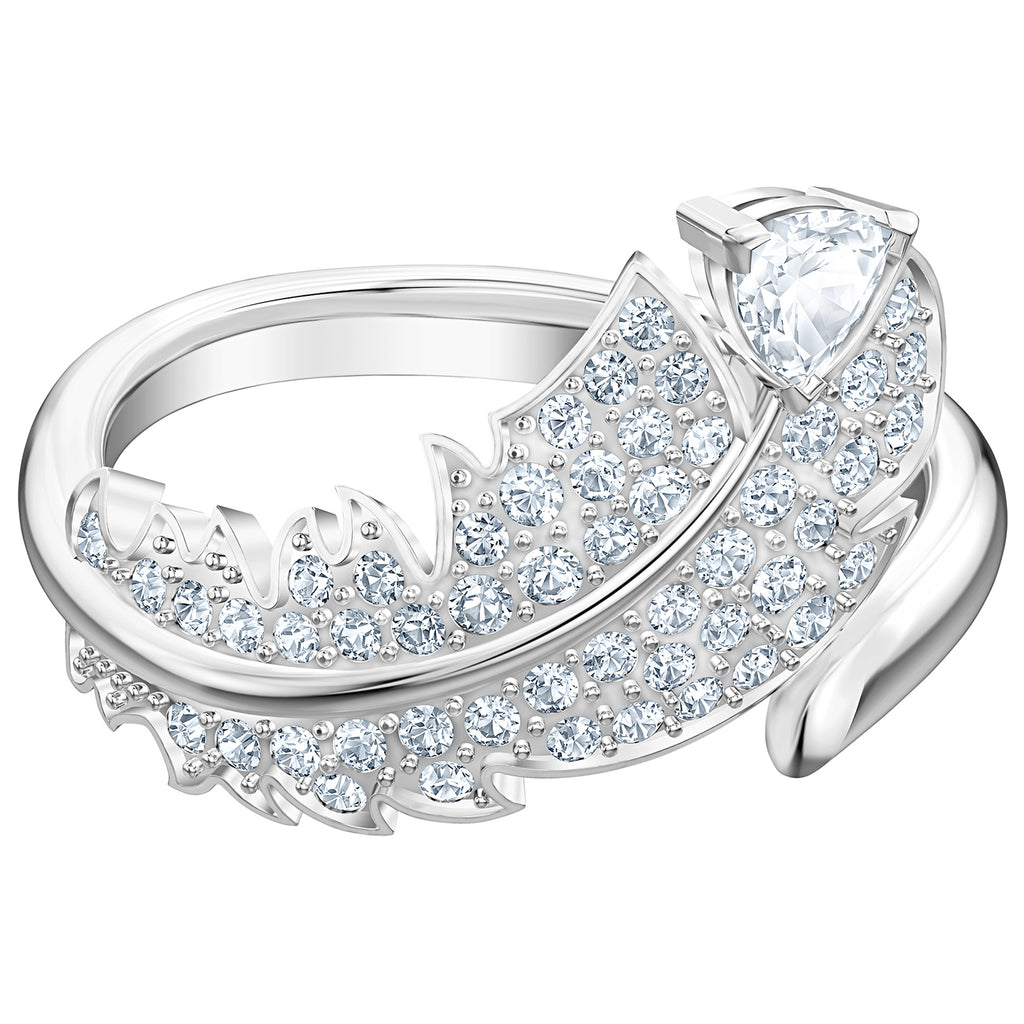 Swarovski Nice Motif Ring - White - Rhodium Plated - Size 7