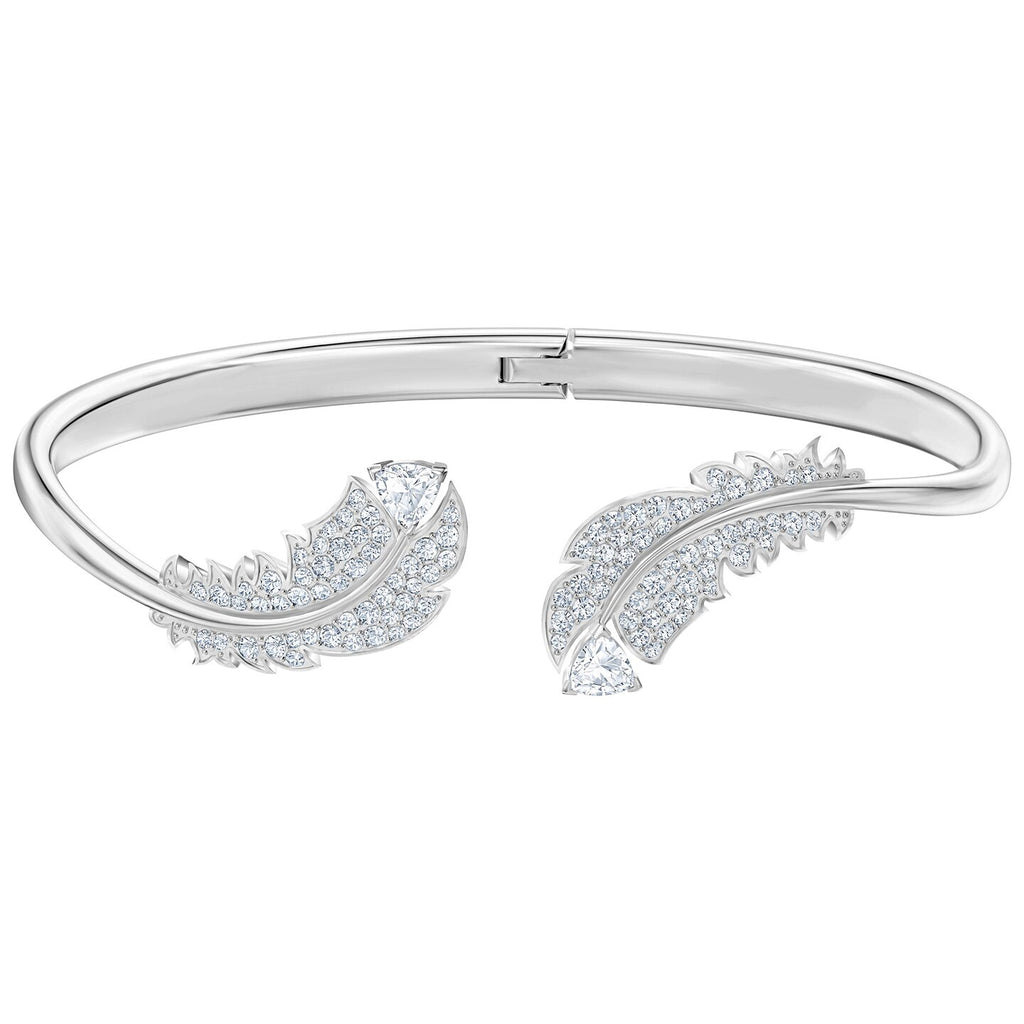Swarovski Nice Bangle - White - Rhodium Plated -