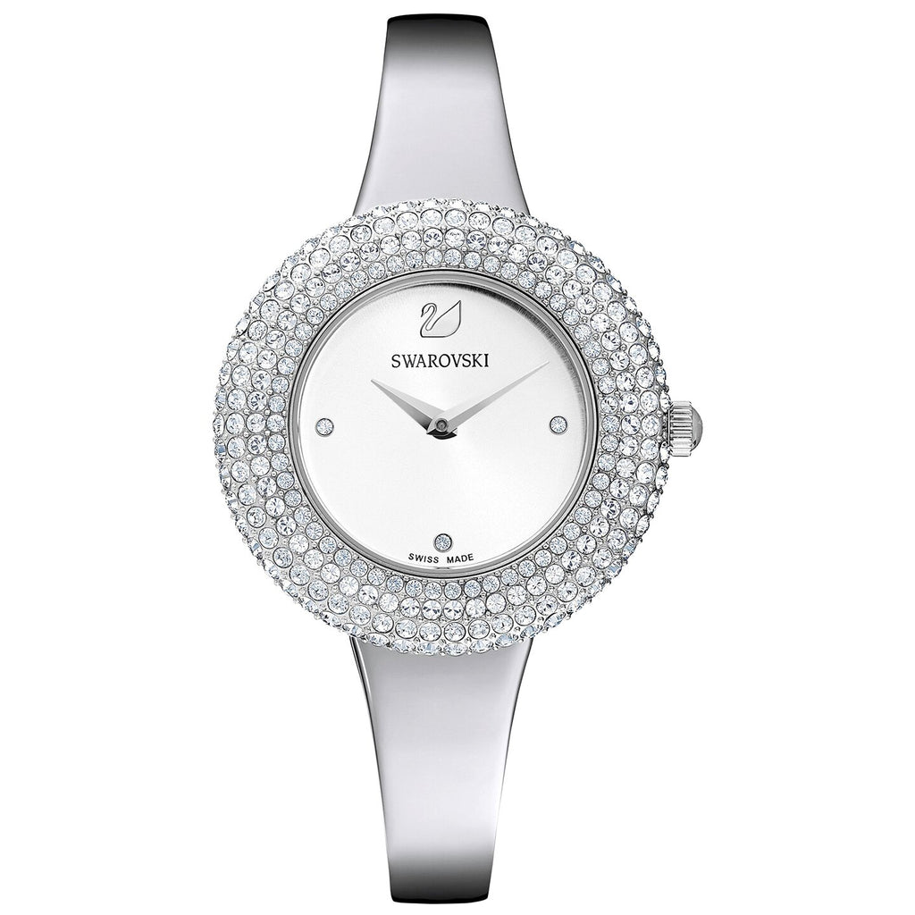 Swarovski Crystal Rose Watch - Metal Bracelet - Silver - Stainless Steel -
