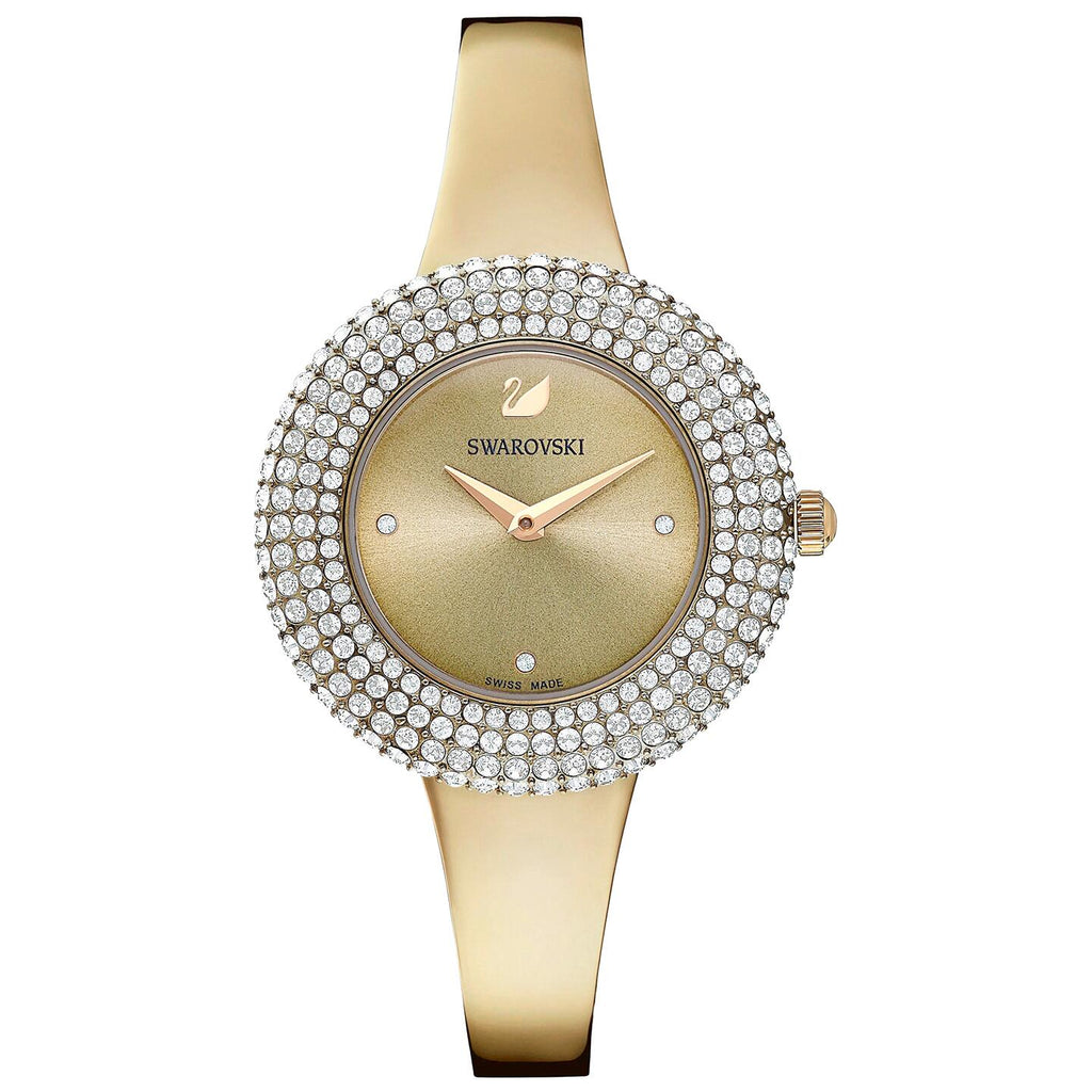 Swarovski Crystal Rose Watch - Metal Bracelet - Golden - Champagne-gold Tone PVD -