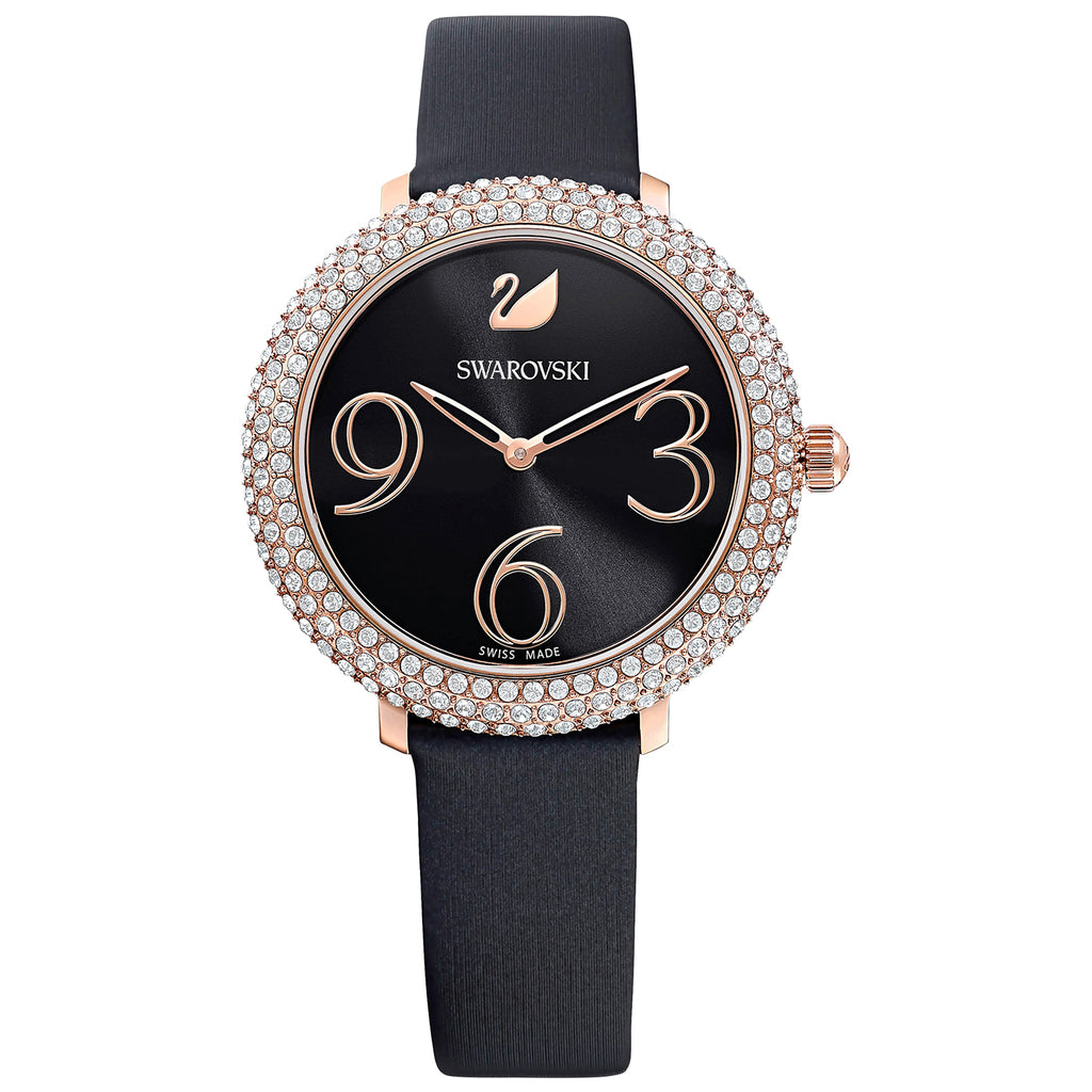 Swarovski Crystal Frost Watch - Leather Strap - Black - Rose-gold Tone PVD -