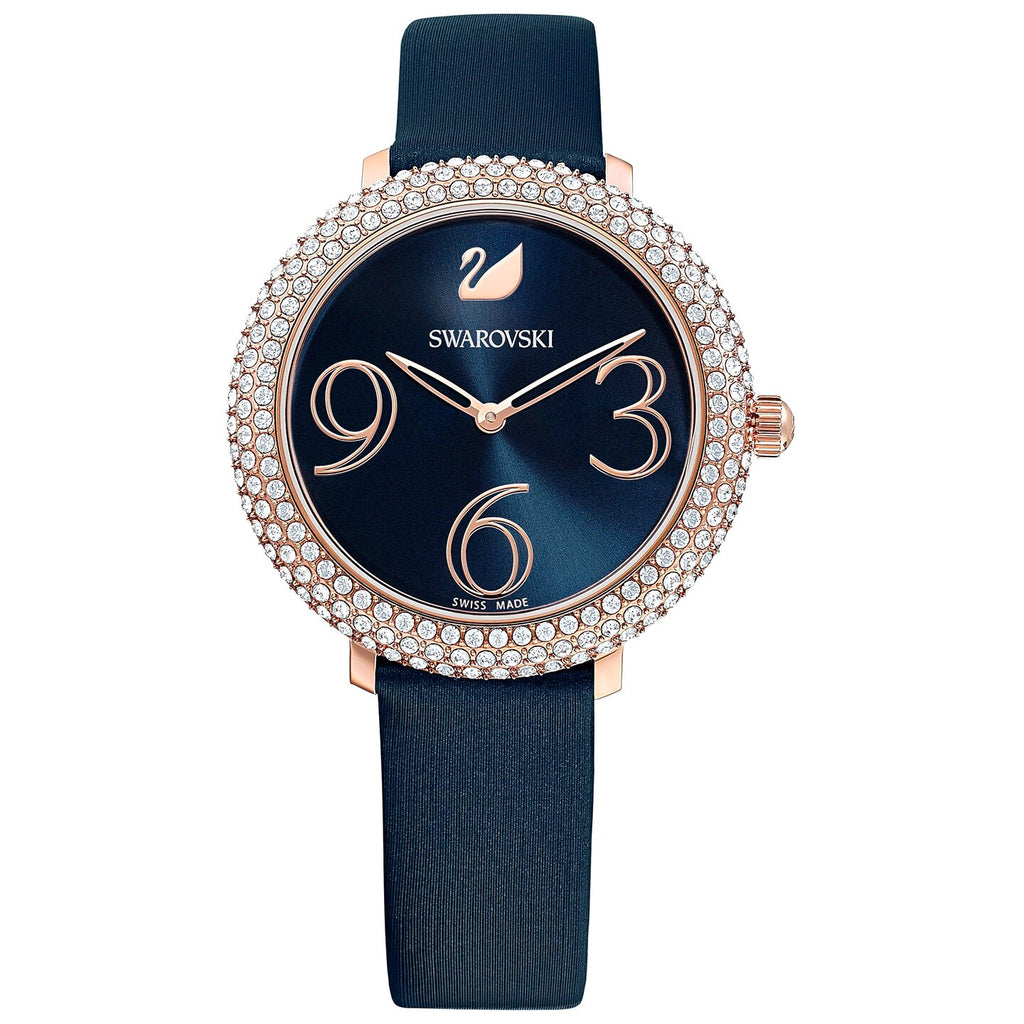 Swarovski Crystal Frost Watch - Leather Strap - Blue - Rose-gold Tone PVD -