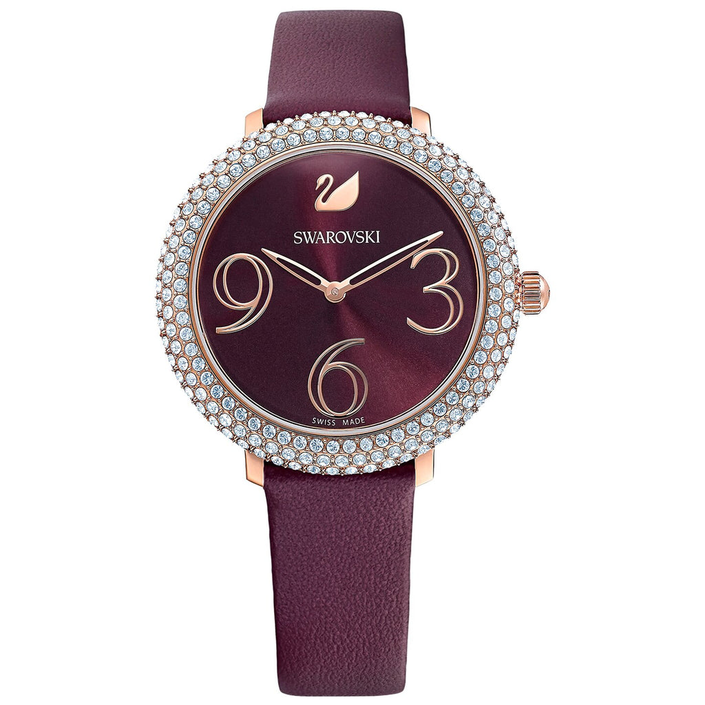 Swarovski Crystal Frost Watch - Leather Strap - Dark red - Rose-gold Tone PVD -