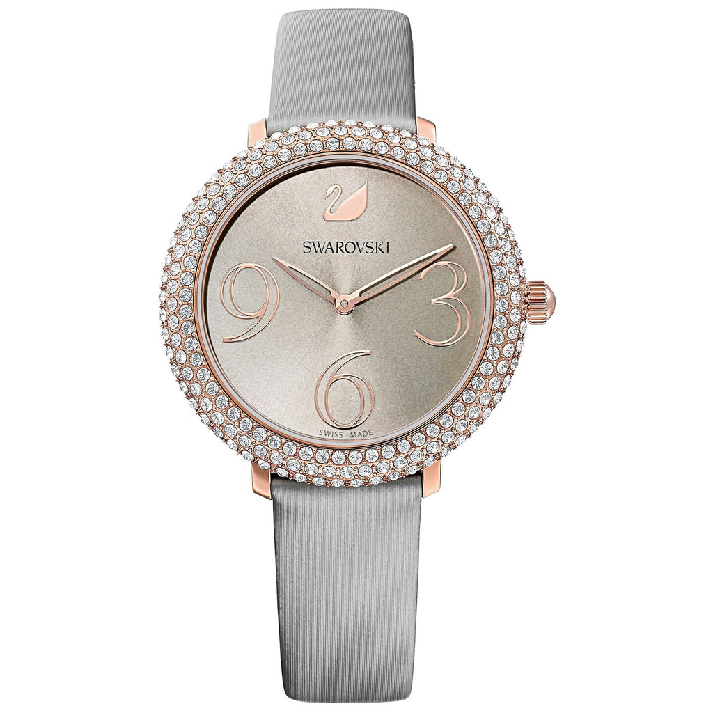 Swarovski Crystal Frost Watch - Leather Strap - Gray - Rose-gold Tone PVD -