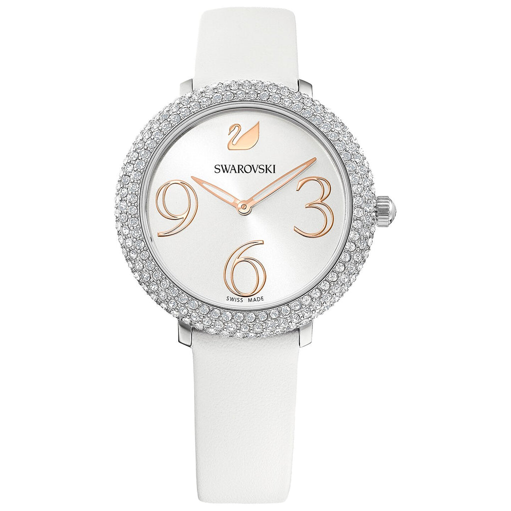 Swarovski Crystal Frost Watch - Leather Strap - White - Stainless Steel -