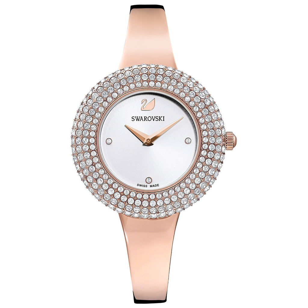 Swarovski Crystal Rose Watch - Metal Bracelet - White - Rose-gold Tone PVD -