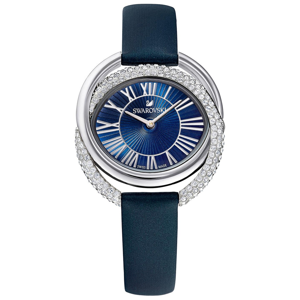 Swarovski Duo Watch - Leather Strap - Blue - Stainless Steel -