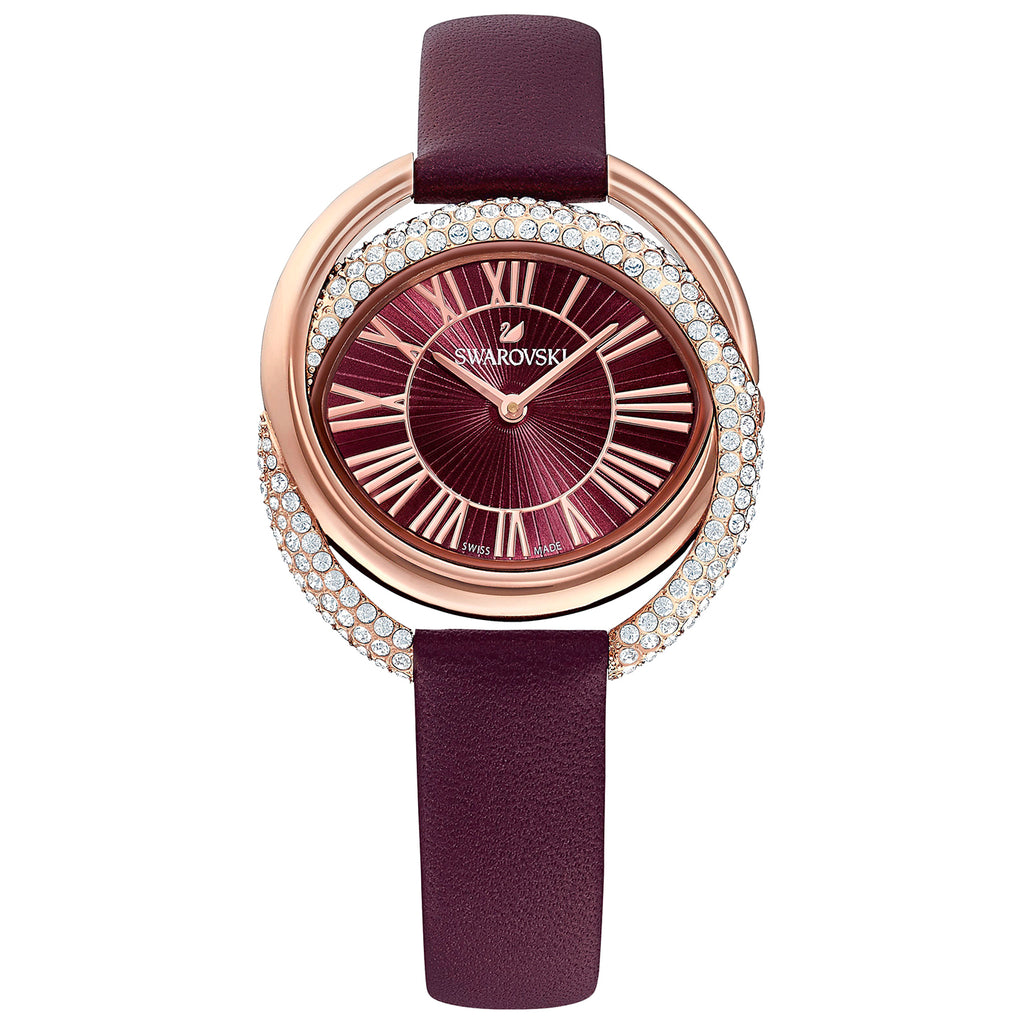 Swarovski Duo Watch - Leather Strap - Dark red - Rose-gold Tone PVD -