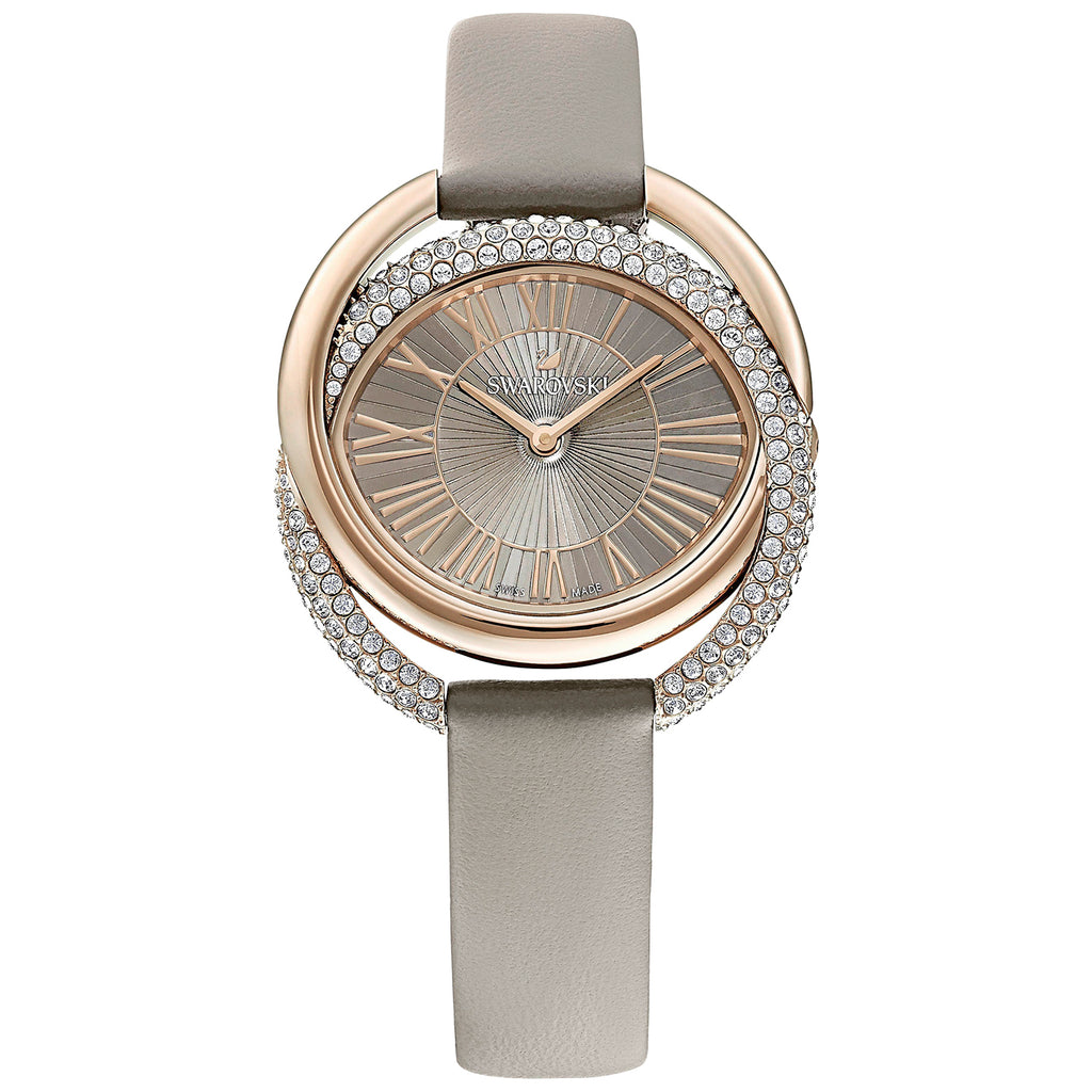 Swarovski Duo Watch - Leather Strap - Gray - Champagne-gold Tone PVD -