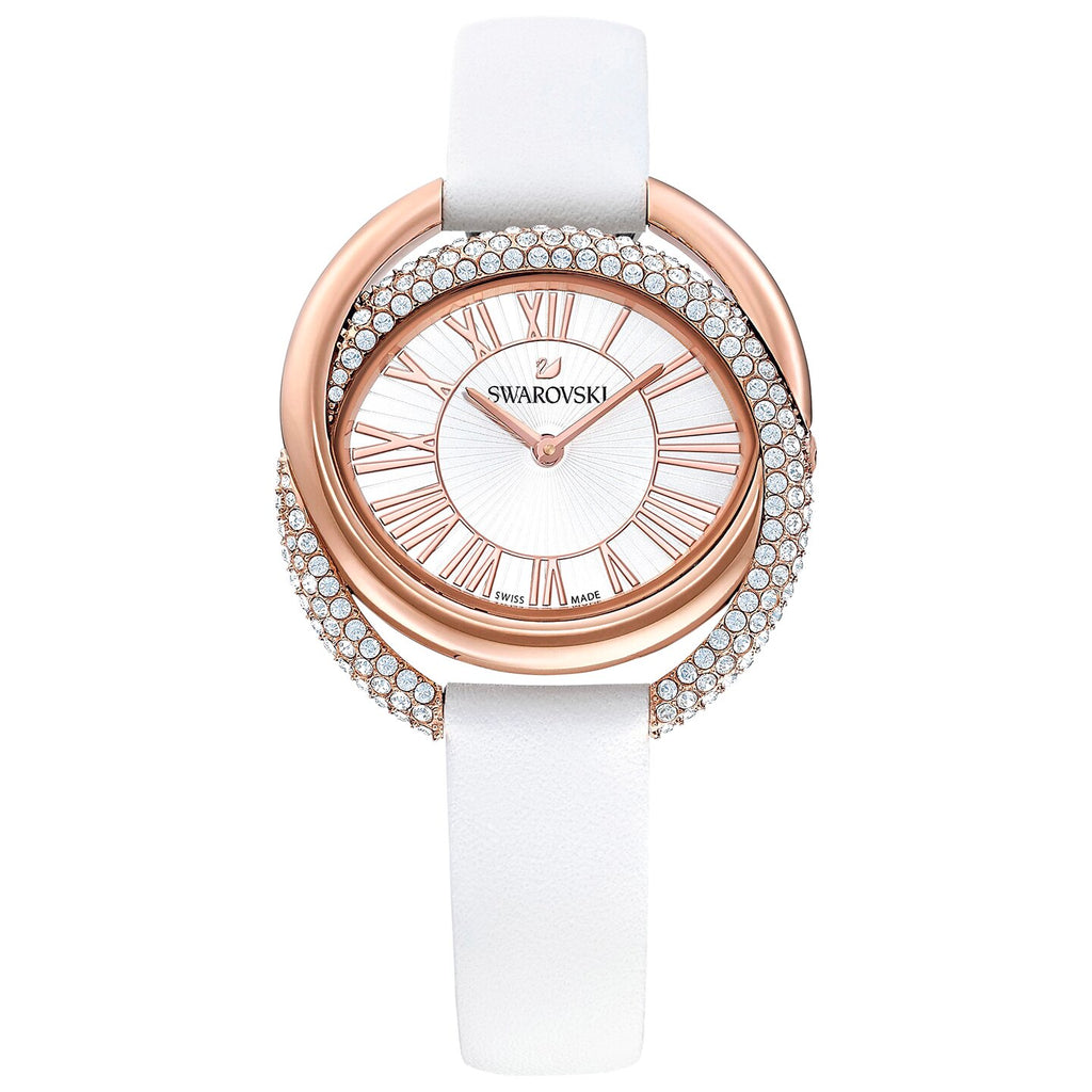 Swarovski Duo Watch - Leather Strap - White - Rose-gold Tone PVD -