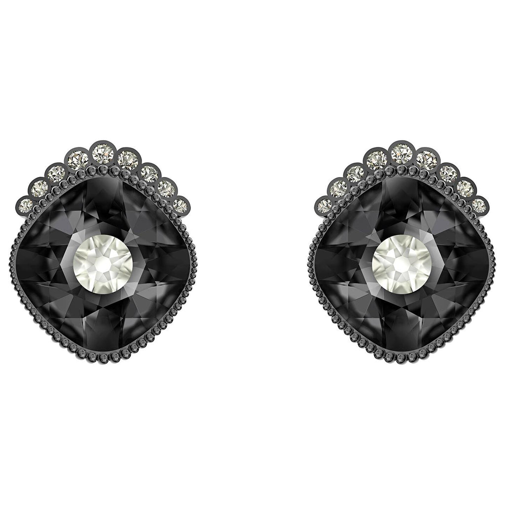 Swarovski Black Baroque Stud Pierced Earrings - Dark gray - Ruthenium Plated -