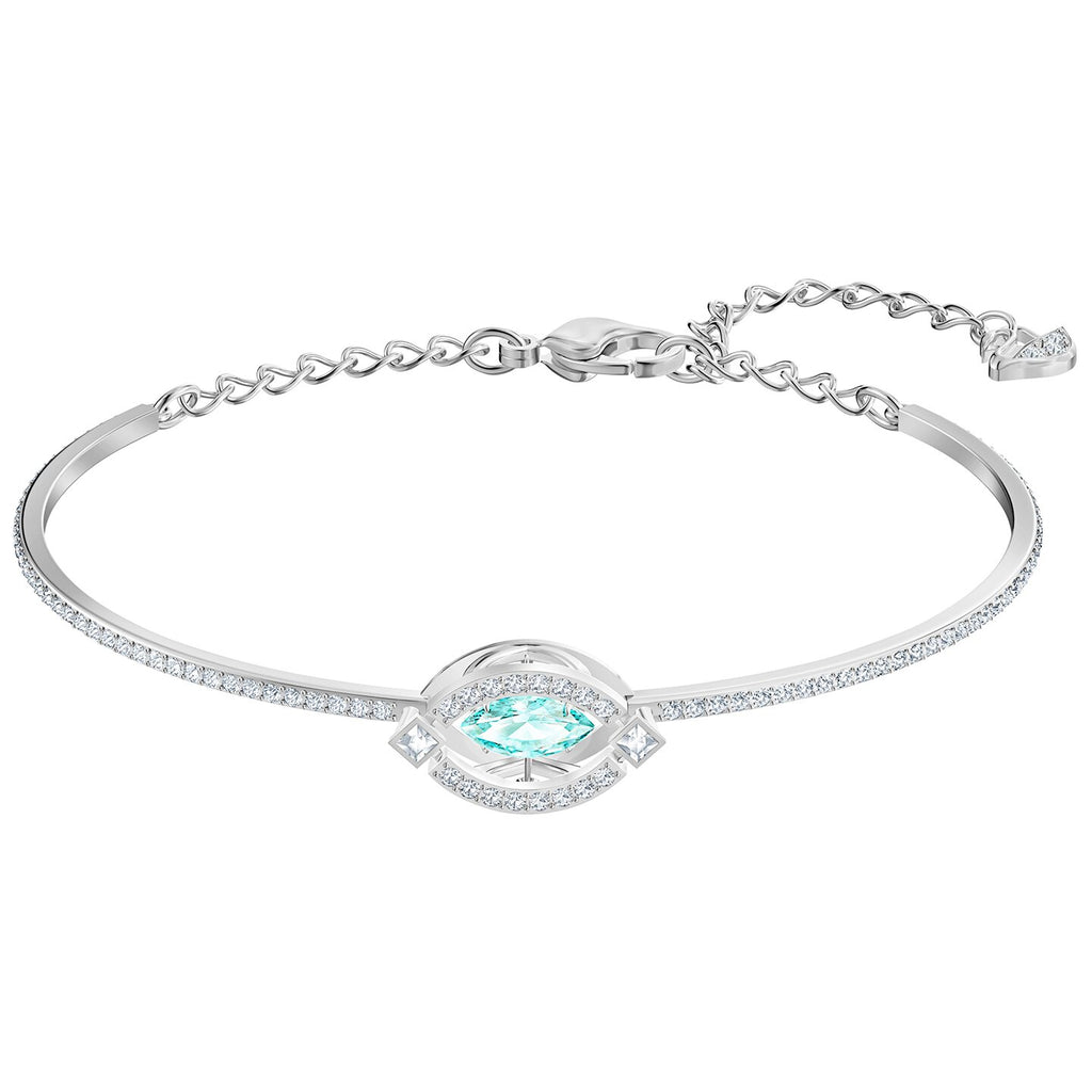 Swarovski Sparkling Dance Bangle - Green - Rhodium Plated -