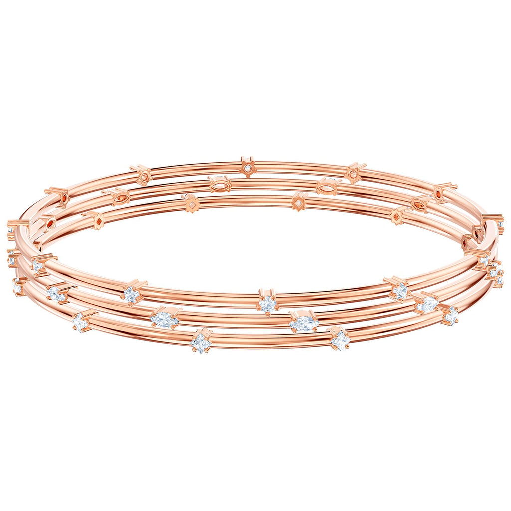 Swarovski Penelope Cruz Moonsun Cluster Bangle - White - Rose-gold Tone Plated -