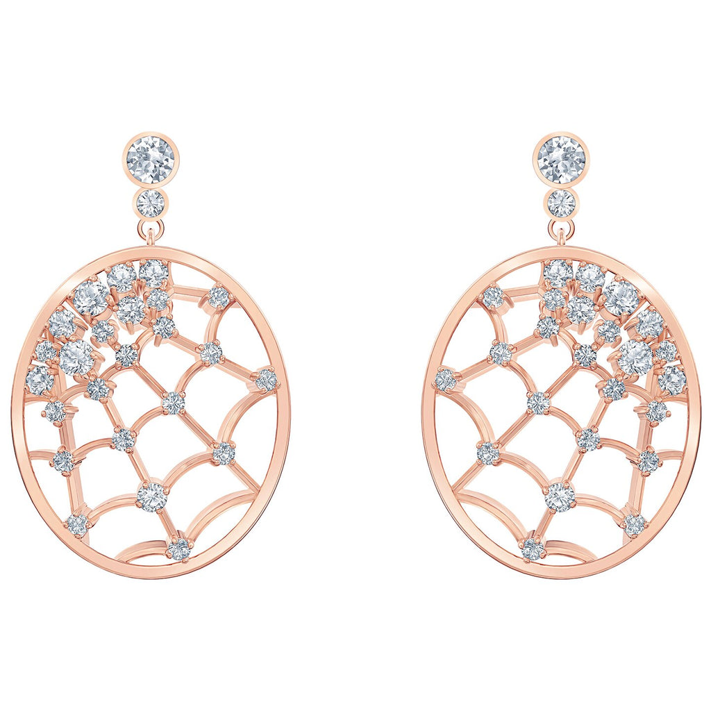 Swarovski Precisely Drop Pierced Earrings - White - Rose-gold Tone Plated -