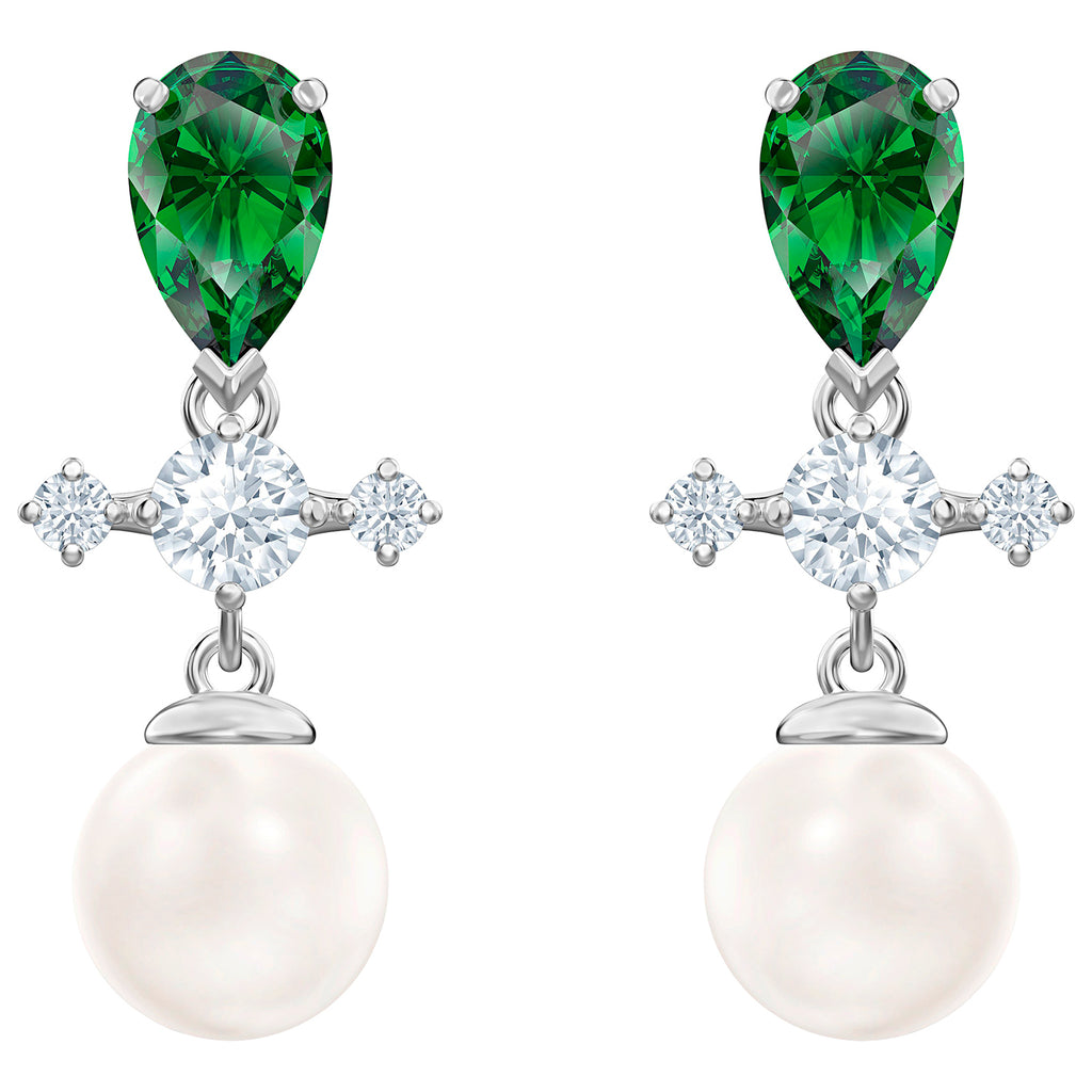 Swarovski Perfection Drop Pierced Earrings - Green - Rhodium Plated -