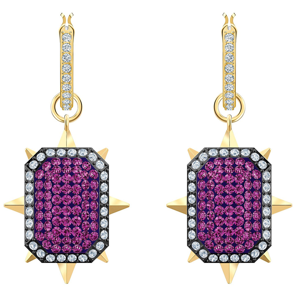 Swarovski Tarot Magic Hoop Pierced Earrings - Purple - Gold-tone Plated -