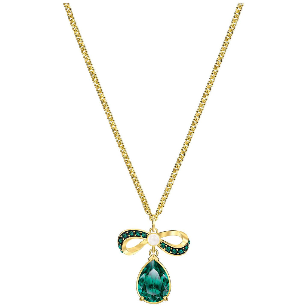 Swarovski Black Baroque Pendant - Green - Gold-tone Plated -
