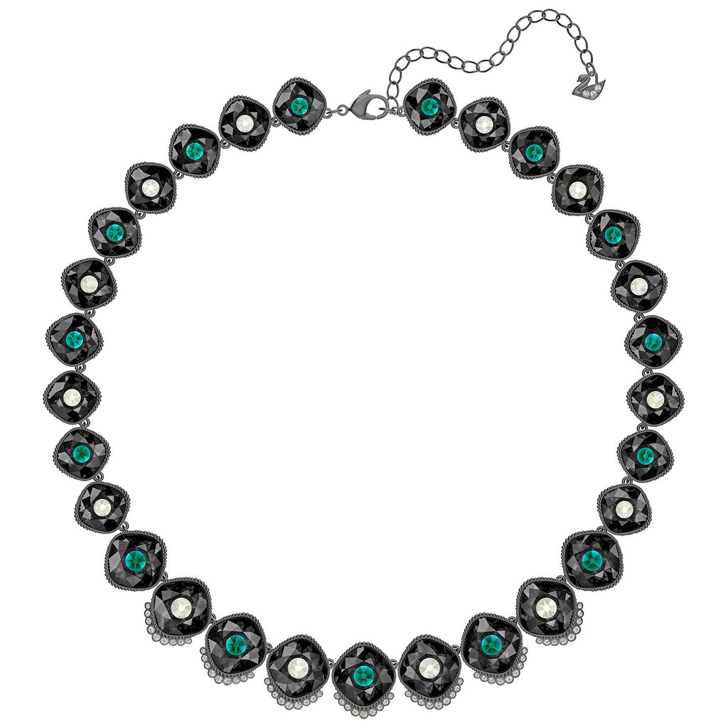 Swarovski Black Baroque Necklace - Multi-colored - Ruthenium Plated -