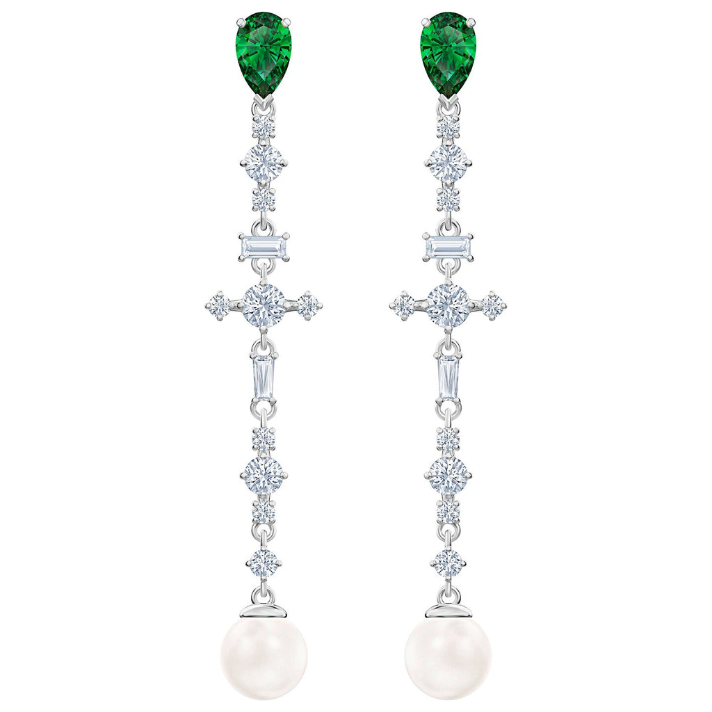 Swarovski Perfection Pierced Earrings - Green - Rhodium Plated -