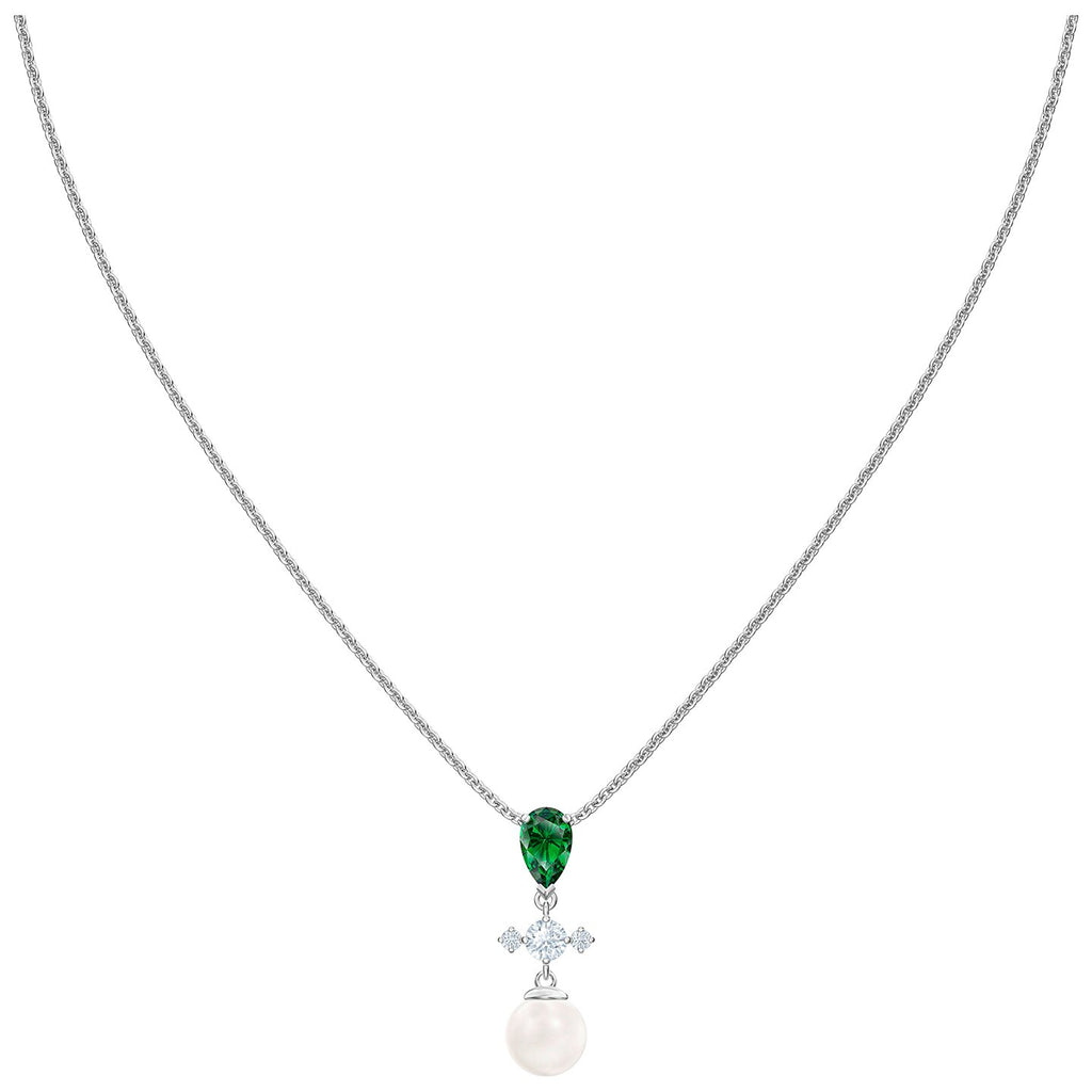Swarovski Perfection Necklace - Green - Rhodium Plated -