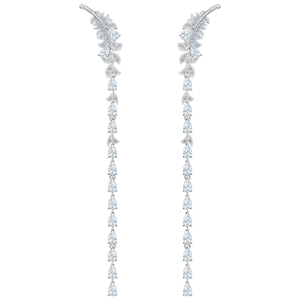 Swarovski Nice Pierced Earrings - White - Rhodium Plated -