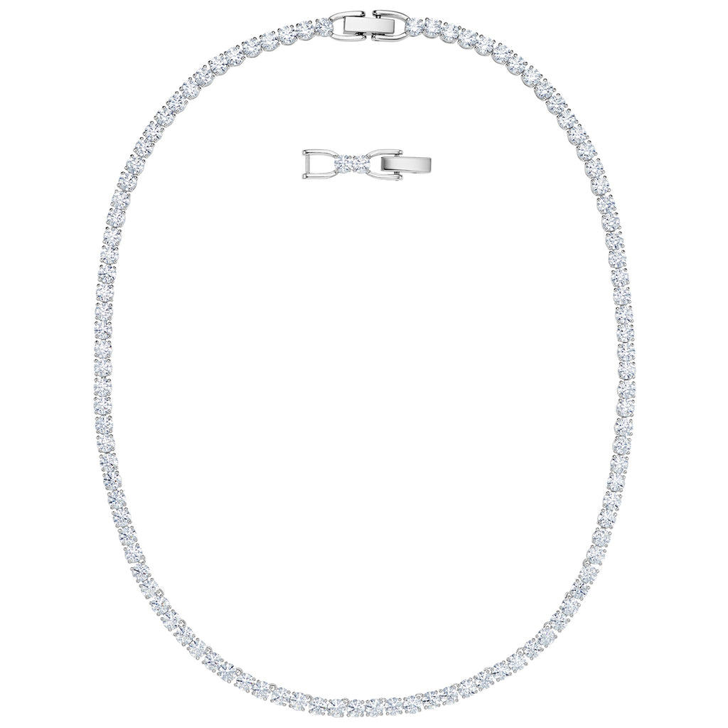 Swarovski Tennis Deluxe Necklace - White - Rhodium Plated -