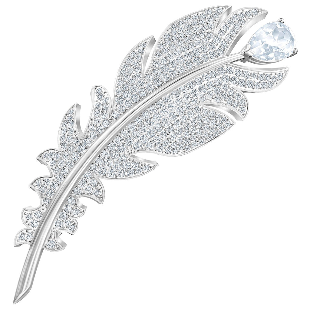 Swarovski Nice Brooch - White - Rhodium Plated -