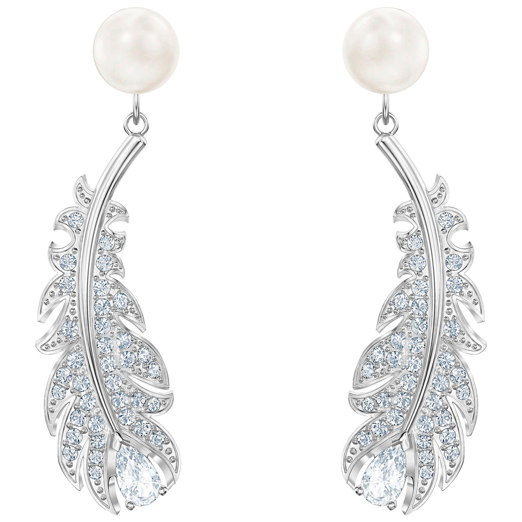 Swarovski Nice Pierced Earrings - White - Rhodium Plated