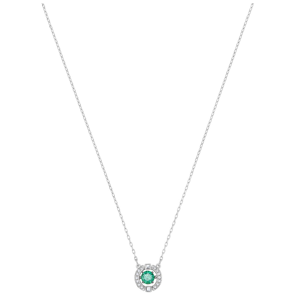 Swarovski Sparkling Dance Necklace - Green - Rhodium Plated -