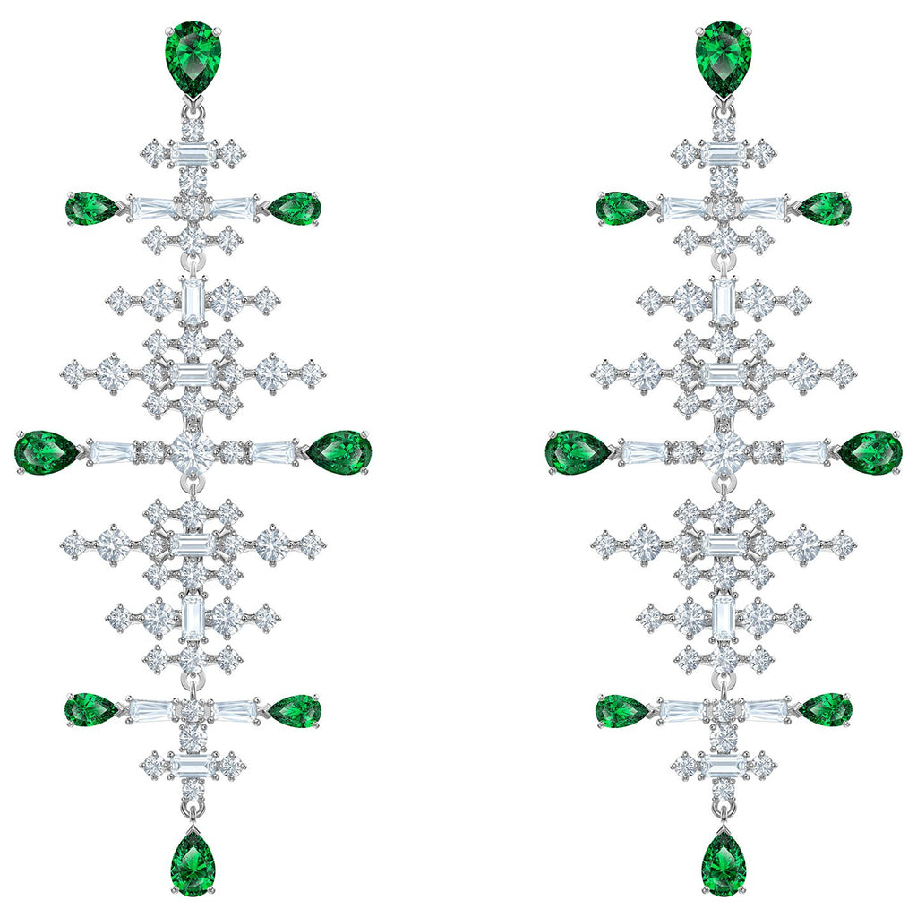Swarovski Perfection Chandelier Pierced Earrings - Green - Rhodium Plated -