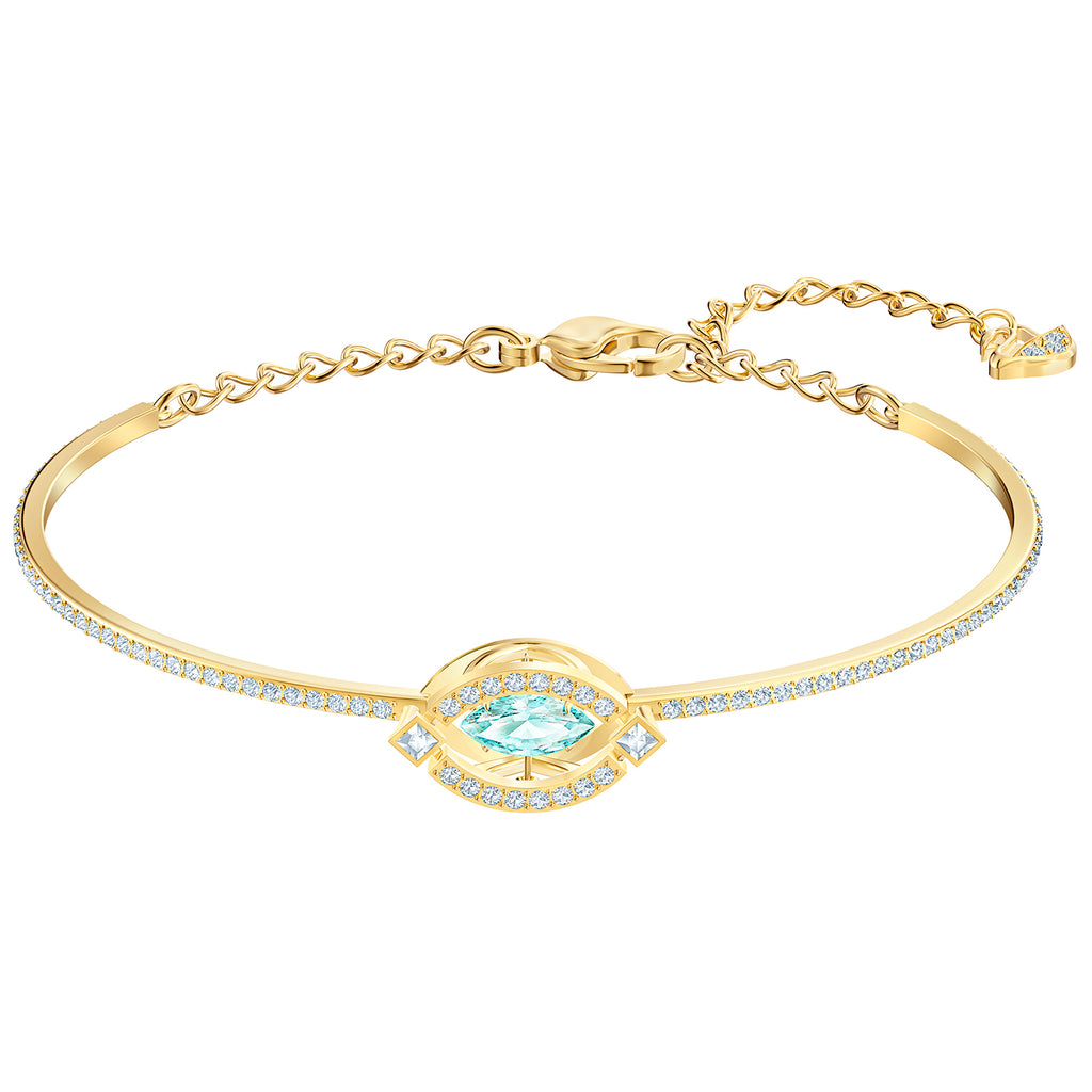 Swarovski Sparkling Dance Bangle - Green - Gold-tone Plated -