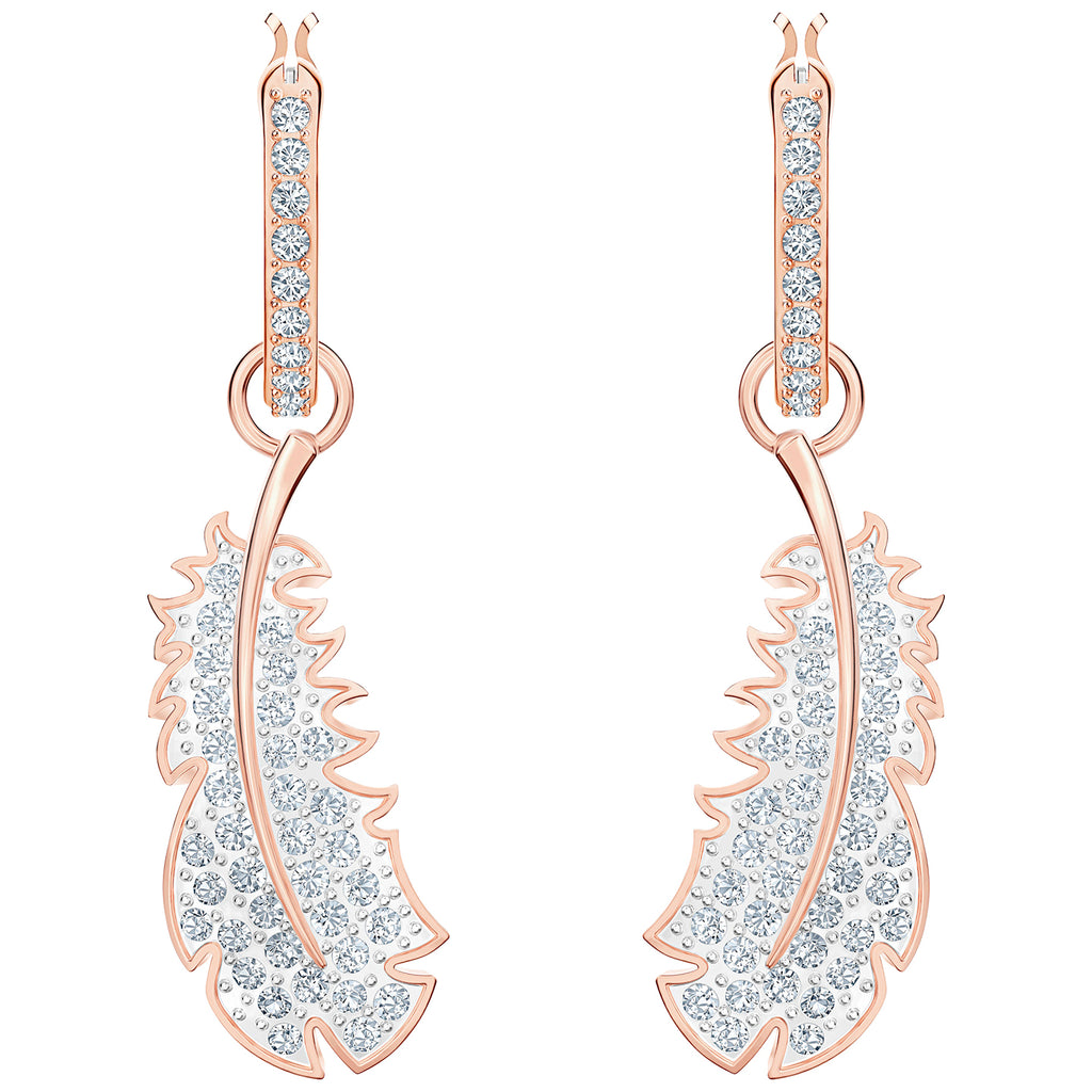 Swarovski Naughty Hoop Pierced Earrings - White - Rose-Gold Tone Plated