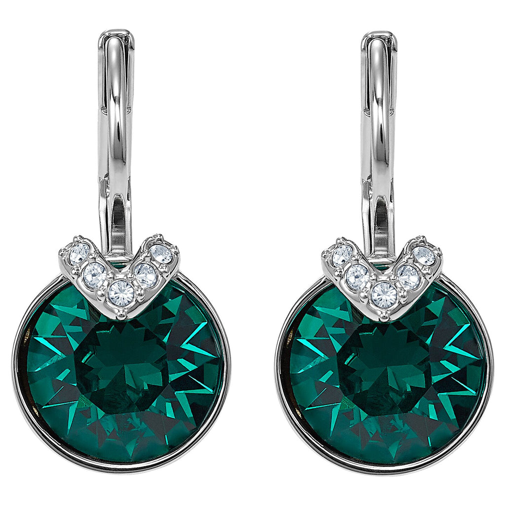 Swarovski Bella V Pierced Earrings - Green - Rhodium Plated -
