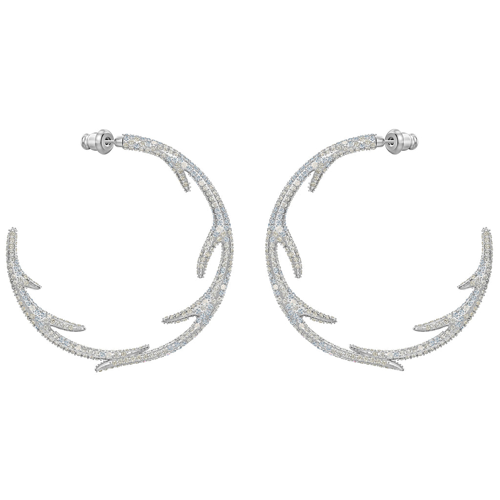 Swarovski Polar Bestiary Hoop Pierced Earrings - Multi-colored - Rhodium Plated -