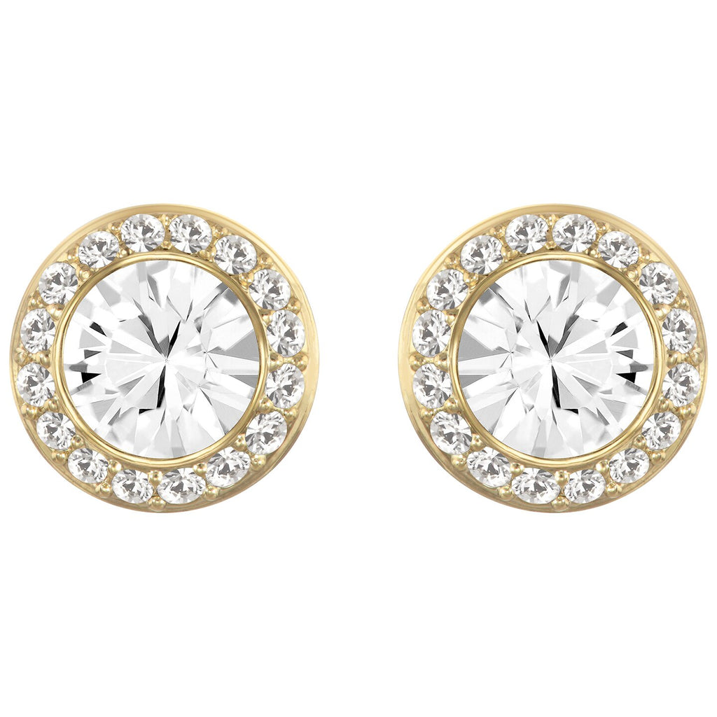 Swarovski Angelic Stud Pierced Earrings - White - Gold-tone Plated -
