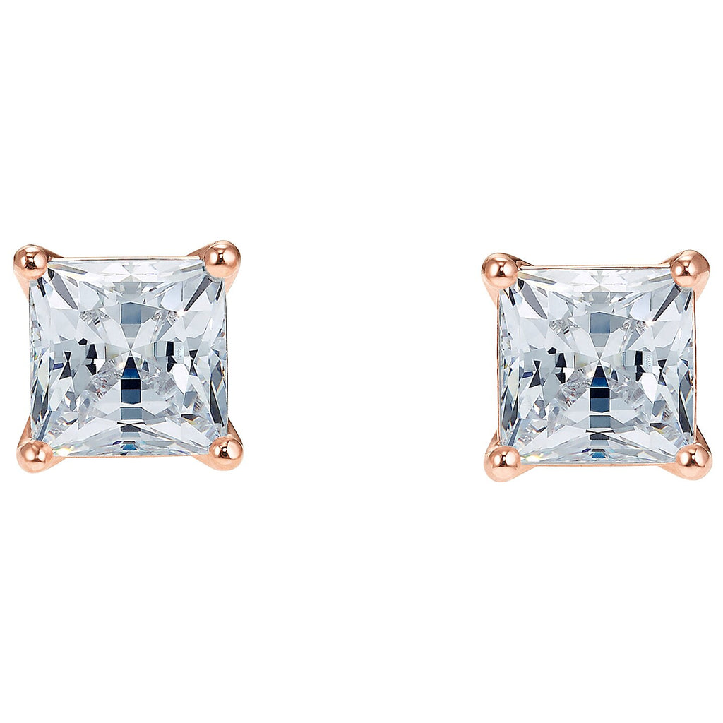 Swarovski Attract Pierced Earrings - White - Rose-gold Tone Plated -