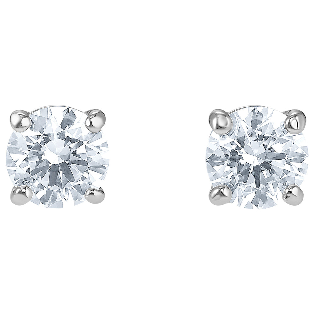 Swarovski Attract Stud Pierced Earrings - White - Rhodium Plated -