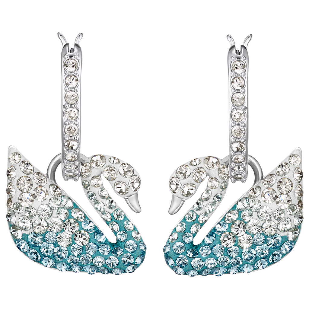 Swarovski Iconic Swan Pierced Earrings - Multi-colored - Rhodium Plated -