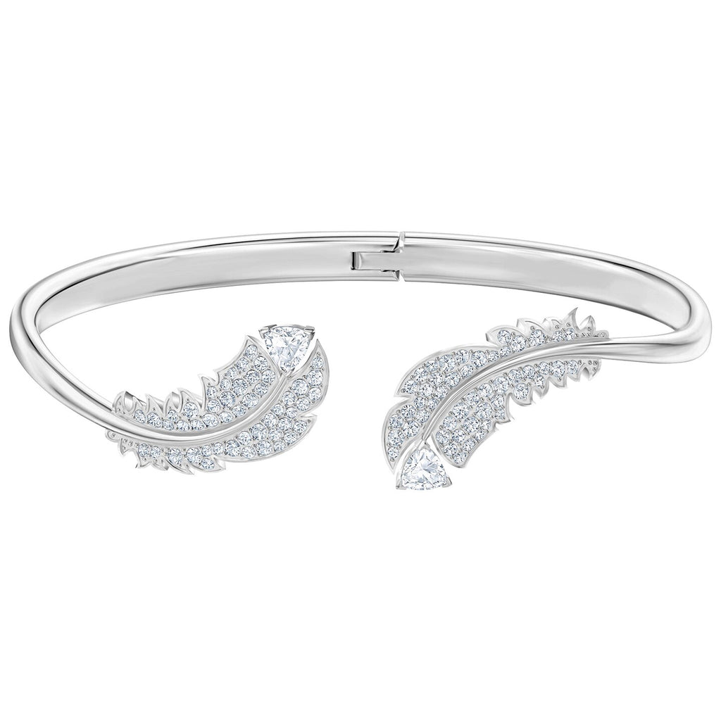 Swarovski Nice Bangle - White - Rhodium Plated