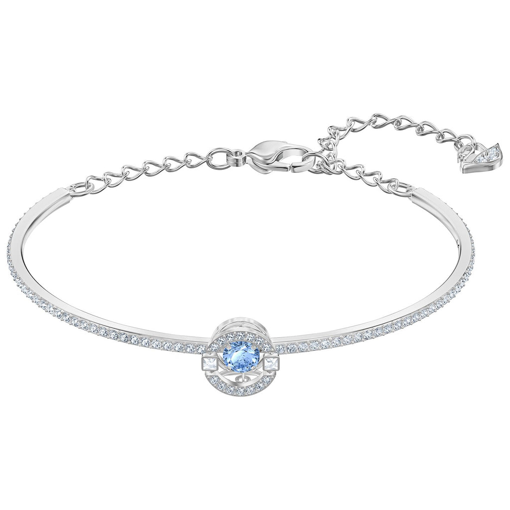 Swarovski Sparkling Dance Bangle - Blue - Rhodium Plated