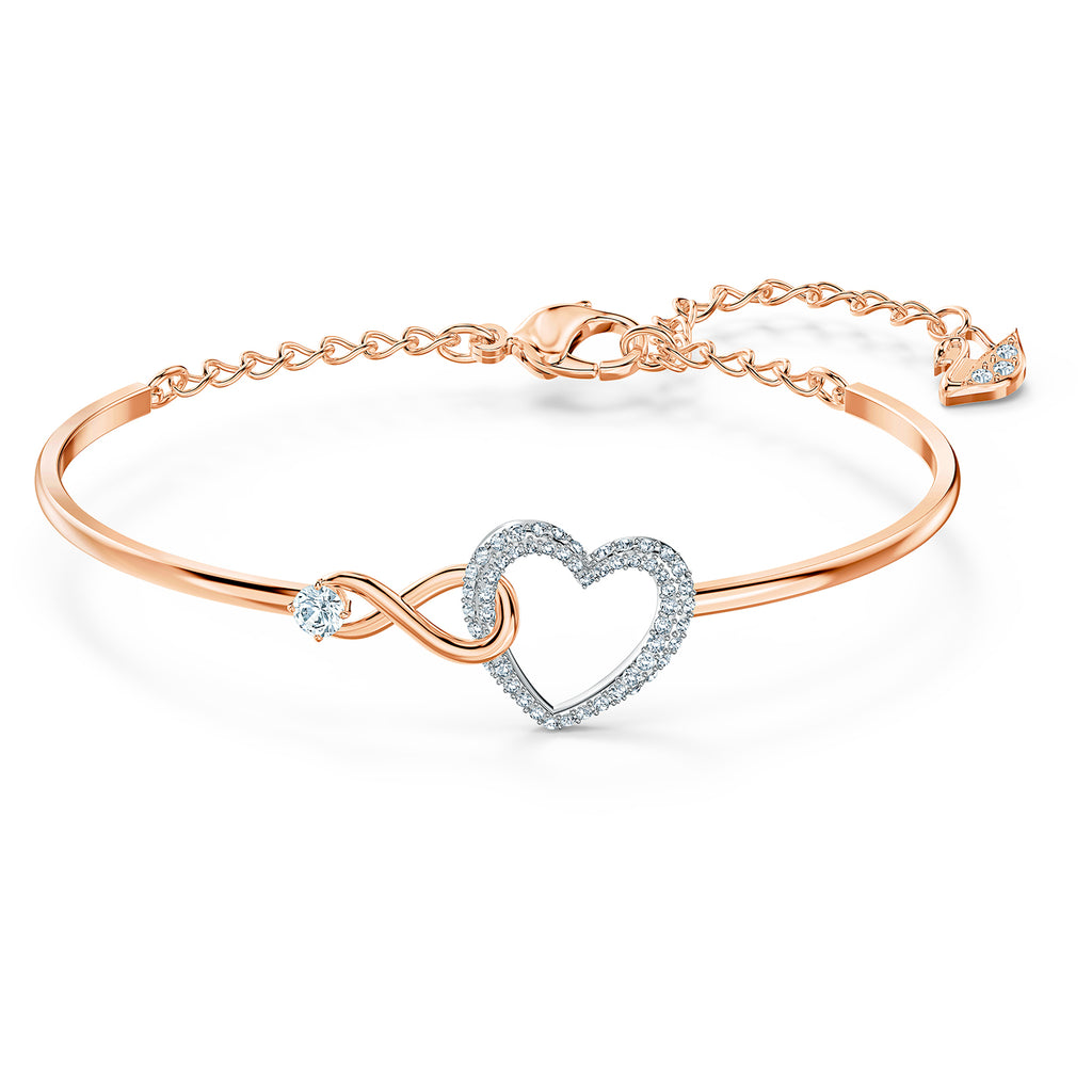 Swarovski Infinity Heart Bangle - White - Mixed Metal Finish -