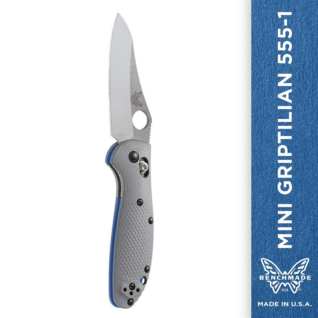 Benchmade - Mini Griptilian  - Plain Sheepsfoot - Satin Finish - Gray Handle