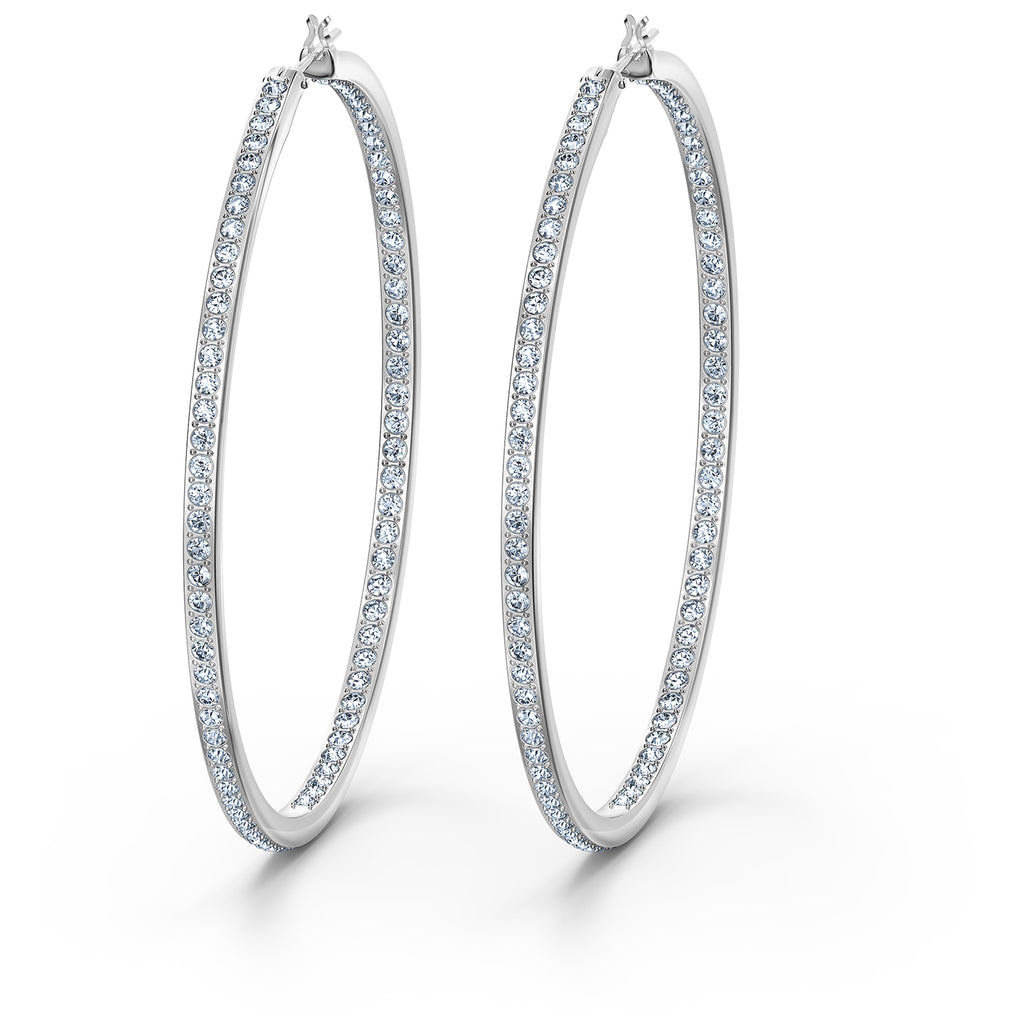 Swarovski Rare Hoop Pierced Earrings - White - Rhodium Plated