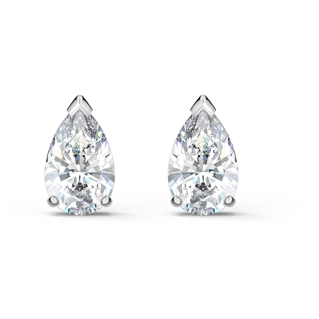 Swarovski Attract Pear Stud Pierced Earrings - White - Rhodium Plated